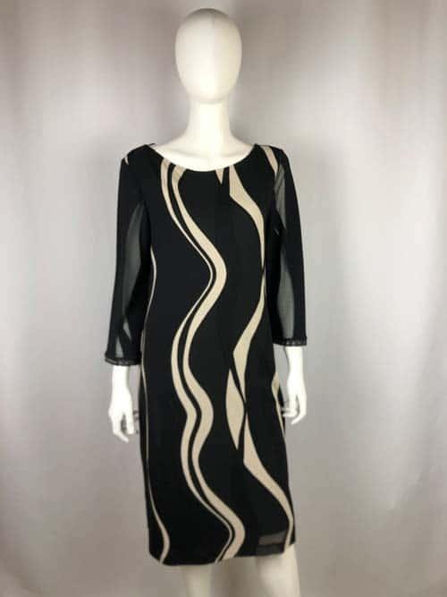 ANA ALCAZAR Kleid kurz schwarz mit beigen Streifen