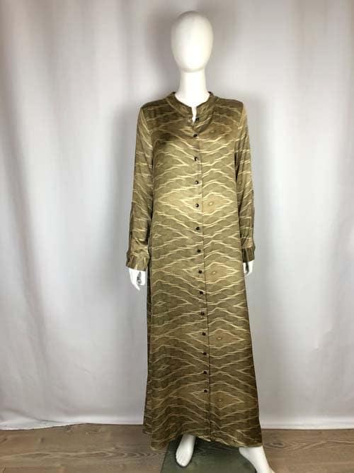 CONTROFIGURA Kleid lang oliv gemustert