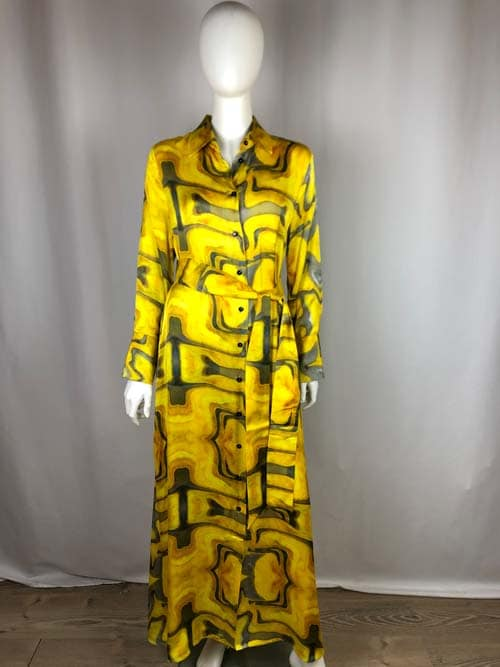 CONTROFIGURA Kleid lang gelb gemustert
