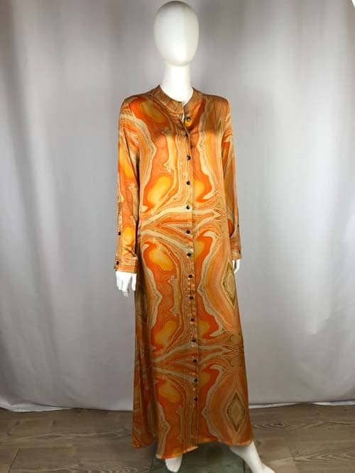 CONTROFIGURA Kleid lang orange gemustert