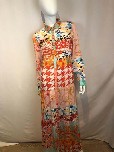 YESS Kleid lang orange gemustert