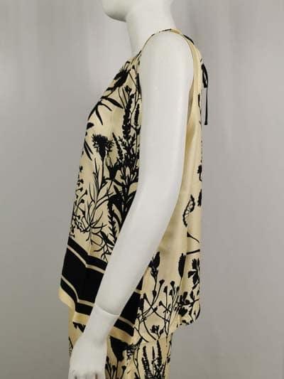 Ana Alcazr Bluse beige mit schwarzem Print von der Seite