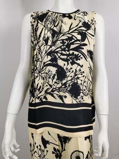 ANA ALCAZAR ärmellose Bluse creme mit schwarzem Muster