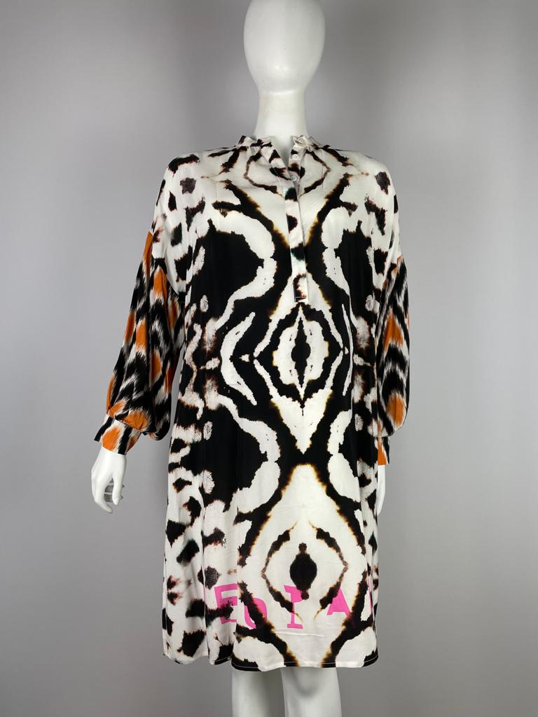 YIPPIE HIPPIE Kleid lang gemustert mit Leopard Aufschrift